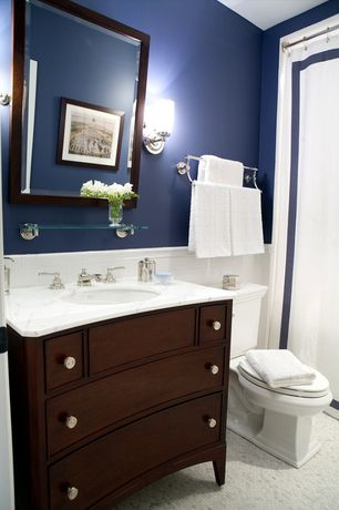 Traditional Full Bathroom with Wall sconce, Flat panel cabinets, Undermount sink, ceramic tile floors, Subway Tile