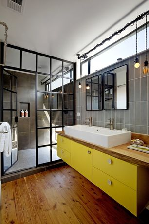 Contemporary Master Bathroom with Design Classics Lighting Bronze Bare Bulb Mini-Pendant Light, Hardwood floors, Flush