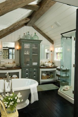 Cottage Master Bathroom with Exposed beam, Crown molding, PB FOUND OVERSIZED WINE BOTTLE, High ceiling, Wood counters, Flush