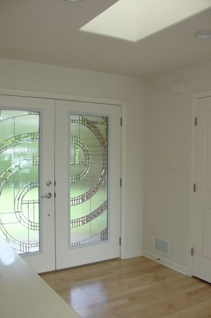 Contemporary Front Door with Millstead vintage maple natural engineered hardwood flooring, Custom double front entry doors
