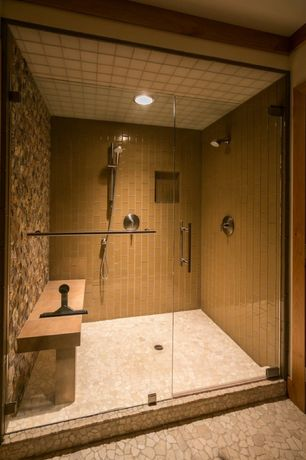 Contemporary Master Bathroom with Master bathroom, frameless showerdoor, Rectangular Shower Enclosure, Handheld showerhead