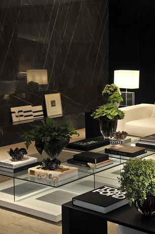 Modern Living Room with Carpet, Ethan Allen Rectangular Glass Table Lamp, Marble.com black marquina marble, High ceiling