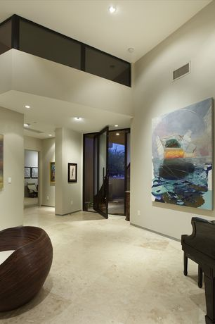 Contemporary Entryway with Loft, Natural stone floor and wall tile, Concrete floors, Glass railing, French doors