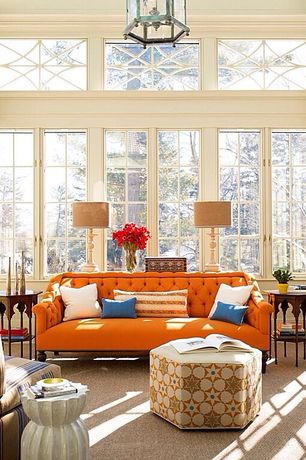 Eclectic Living Room with Carpet, Pendant light, High ceiling