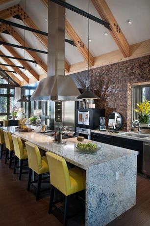 Eclectic Kitchen with Standard height, Breakfast bar, electric cooktop, flush light, One-wall, Marble counter, Pendant light