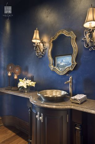 Traditional Powder Room with Wall sconce, Satin Nickel Vintage Trough Waterfall Vessel Faucet, Vessel sink, Raised panel