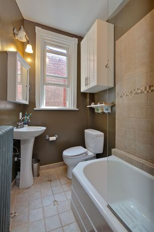 Modern 3/4 Bathroom with double-hung window, Standard height, Paint 2, terracotta tile floors, shower bath combo, Paint 1