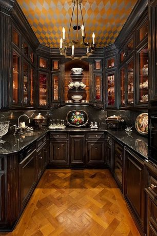 Traditional Pantry with Chandelier, Crown molding, 6 sockets european brass chandelier, Built-in bookshelf, Cabinet finish