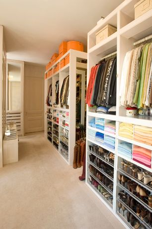 Traditional Closet with Carpet, Custom closet storage, Built-in bookshelf