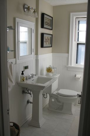 Cottage Powder Room with Manor house 8 linear ft. mdf overlapping wainscot paneling kit, Powder room, Pedestal sink