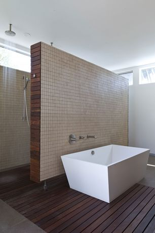 Modern Master Bathroom with Handheld showerhead, Daltile cremona caffe sl82 2x2 mosaic, Freestanding, Master bathroom