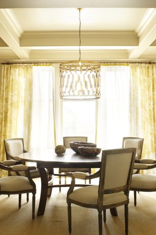 Contemporary Dining Room with Carpet, Exposed beam, Pendant light, Crown molding