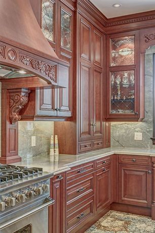 "Traditional Kitchen with Custom hood, Top Knobs - Passport - Trevi - 1 5/16"" Round Knob in Tuscan Bronze - ( TOP-114328 )"