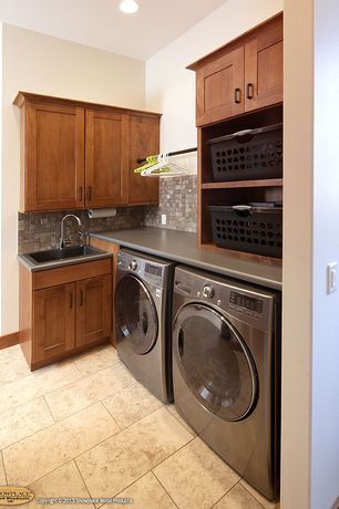 Craftsman Laundry Room with laundry sink, Drop-in sink, Mosaic tile backsplash, Paint, Shaker style cabinets, Hanging Bar