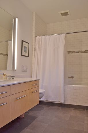 Modern Full Bathroom with Large Ceramic Tile, Standard height, hollywood lights, European Cabinets, Shower, Undermount sink