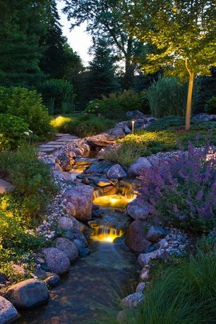 Contemporary Landscape/Yard with Accent landscape lighting, Outdoor stream, Rock pathway