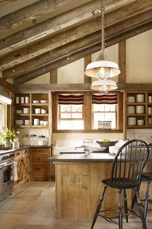 Rustic Kitchen with Pendant light, European Cabinets, limestone tile floors, Fox point stool black, L-shaped, Flush