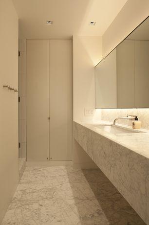 Contemporary Master Bathroom with Mirabelle MIRWSED100BN Brushed Nickel Edenton Wall Mounted Bathroom Faucet, Undermount sink