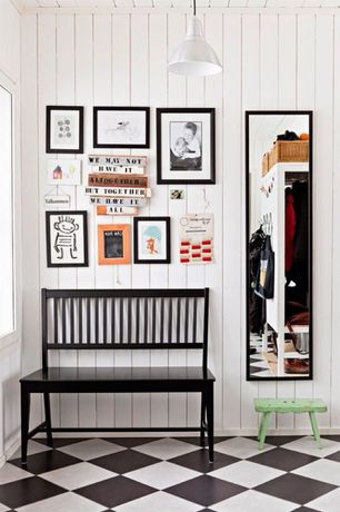Eclectic Mud Room with Ikea Hemnes Mirror, Daltile sierra rainier 12 in. x 12 in. ceramic floor and wall tile