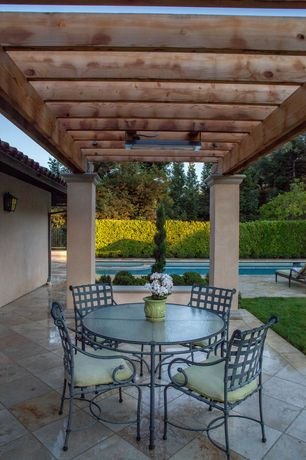 Traditional Patio with Pathway, Other Pool Type, Trellis, Fence, exterior stone floors