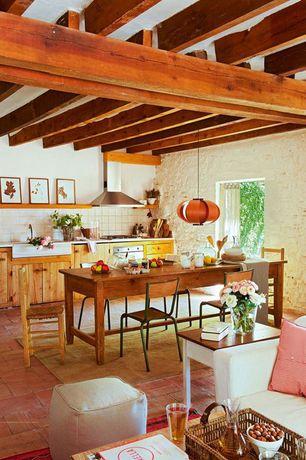 Contemporary Kitchen with Fireside lodge furniture b15110 barnwood rectangular farmhouse dining table, Pendant light, Flush