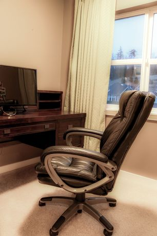 Traditional Home Office with Carpet
