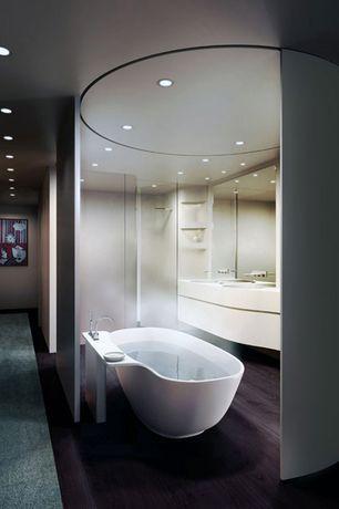 Modern Full Bathroom with Corian counters, Aquatica sensuality mini designer tub freestanding aquastone bathtub, Shower