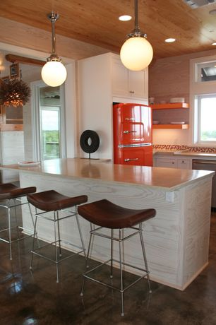 Modern Kitchen with Standard height, U-shaped, French doors, dishwasher, Concrete floors, can lights, Ceramic Tile, Flush