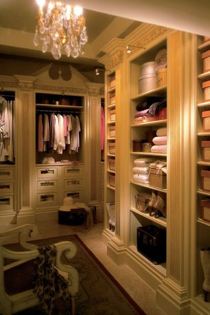 Traditional Closet with Exposed beam, High ceiling, Chandelier, Built-in bookshelf, Wall sconce, limestone floors