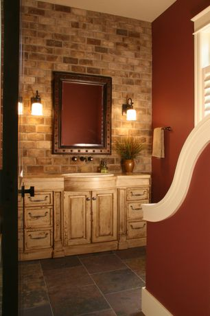 Eclectic Full Bathroom with Standard height, Paint 2, Raised panel, specialty window, Wood counters, Glass panel door, Flush