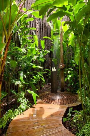Tropical Landscape/Yard with Fence, Outdoor shower, Pathway