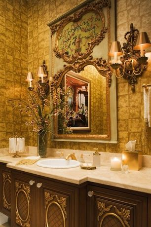 Traditional Powder Room with Limestone, High ceiling, Wall sconce, France baroque trumeau mirror, 18th century, Flush