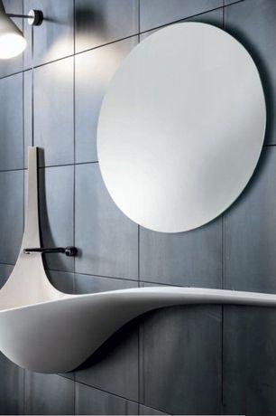 Modern Powder Room with Powder room, High ceiling, Undermount bathroom sink, Wall sconce