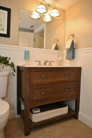 Craftsman Powder Room with limestone tile floors, Powder room, Flush, specialty door, Flat panel cabinets, Limestone counters