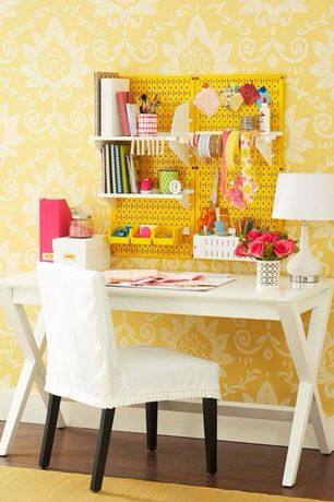 Traditional Home Office with Wall Control Hobby Craft Pegboard Organizer Storage Kit, interior wallpaper, Craft room