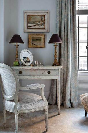 Eclectic Master Bedroom with Carpet, picture window, Standard height, Casement