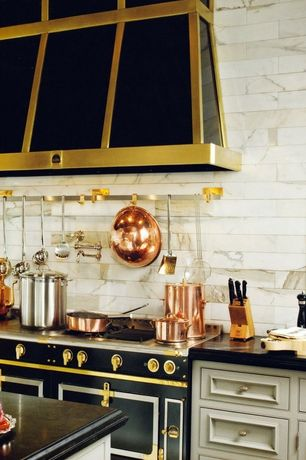 Traditional Kitchen with Flat panel cabinets, Inset cabinets, La Cornue CornuFe 110 Range, Complex Marble Tile, One-wall