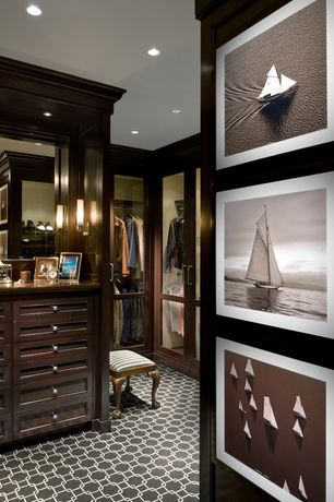 Contemporary Closet with Standard height, Wall sconce, Built-in bookshelf, Carpet, can lights
