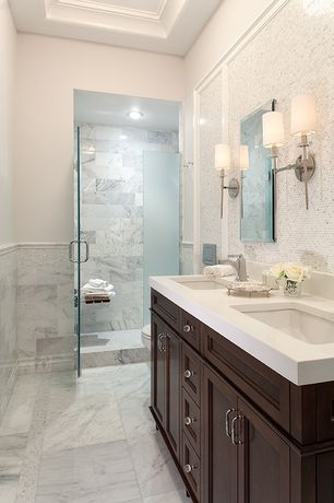 Traditional 3/4 Bathroom with Simple Marble, Inset cabinets, Wall sconce, Chair rail, Simple marble counters, Complex Granite