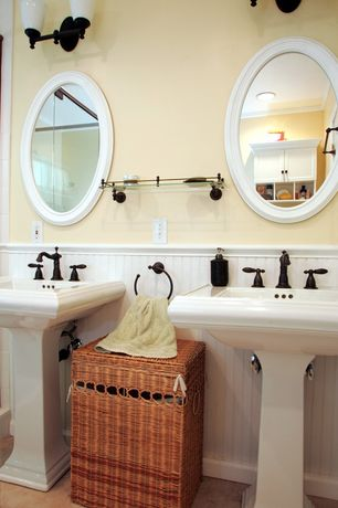 Cottage Master Bathroom with Pedestal sink, House of fara 8 sq ft. mdf overlapping wainscot interior paneling kit