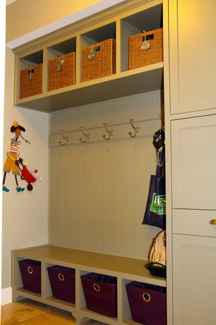 Cottage Mud Room with Hardwood floors, Crate & Barrel Sedona Totes, Liberty Coat and Hat Hook with Round Base in Satin Nickel