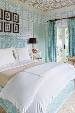 Tropical Guest Bedroom with Quadrille China Seas Lyford Trellis Wallpaper, Carpet, French doors, Quadrille China Seas Bali II