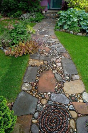 Eclectic Landscape/Yard with River Stone & Pebbles