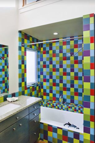 Contemporary Kids Bathroom with drop in bathtub, Undermount sink, Bathtub, Kids bathroom, Casement, Ceramic Tile, Flush
