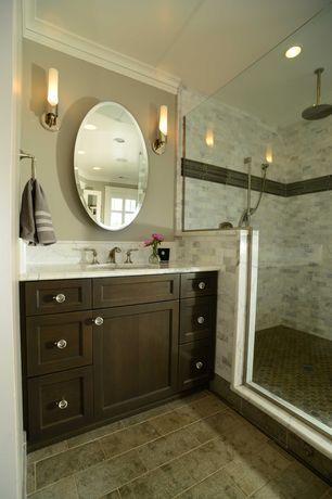 Traditional Master Bathroom with Master bathroom, Wall sconce, Flush, Shower, Complex Marble, Complex marble counters
