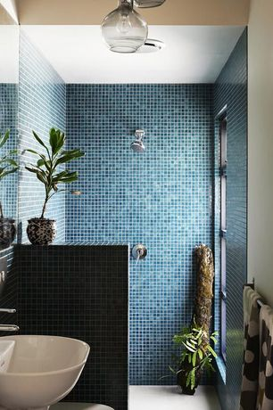 Contemporary 3/4 Bathroom with Blue Skies Hand Painted 1x1 Glass Mosaic Tiles - Blue and White, Wall mounted sink, Paint