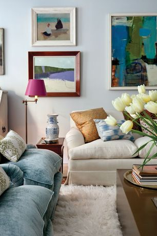 Eclectic Living Room with Standard height, Ethan allen chandler sofa, Laminate floors, Shag greek flokati rug, Paint
