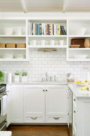 Contemporary Kitchen with Open shelving, Signature Hardware Delilah Deck-Mount Bridge Faucet with Side Spray Cross Handles