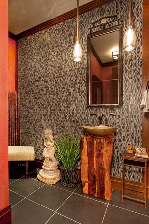 Eclectic Powder Room with flush light, stone tile floors, Standard height, Crown molding, Pendant light, Powder room