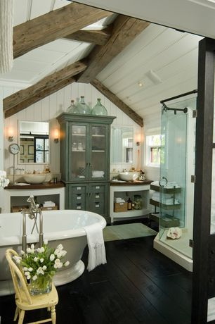 Country Master Bathroom with Flat panel cabinets, Wall sconce, Paintable white beadboard, Vessel sink, frameless showerdoor